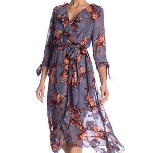 Luxology FloralRuffle Wrap Midi Dress blue rust 12